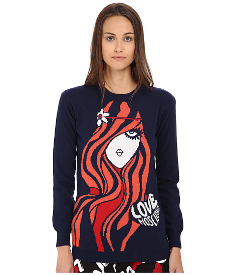 LOVE Moschino - Print Knit (Navy) Women's Sweater