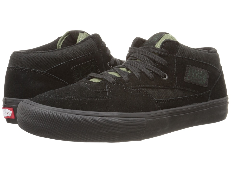 Vans - Half Cab Pro (Black/Black/Green) Men's Skate Shoes