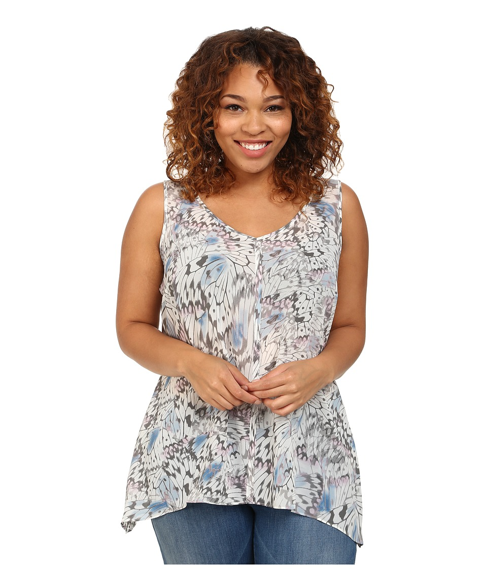 DKNY Jeans - Plus Size Tonal Butterfly Printed Tank Top (Dove) Women's Sleeveless