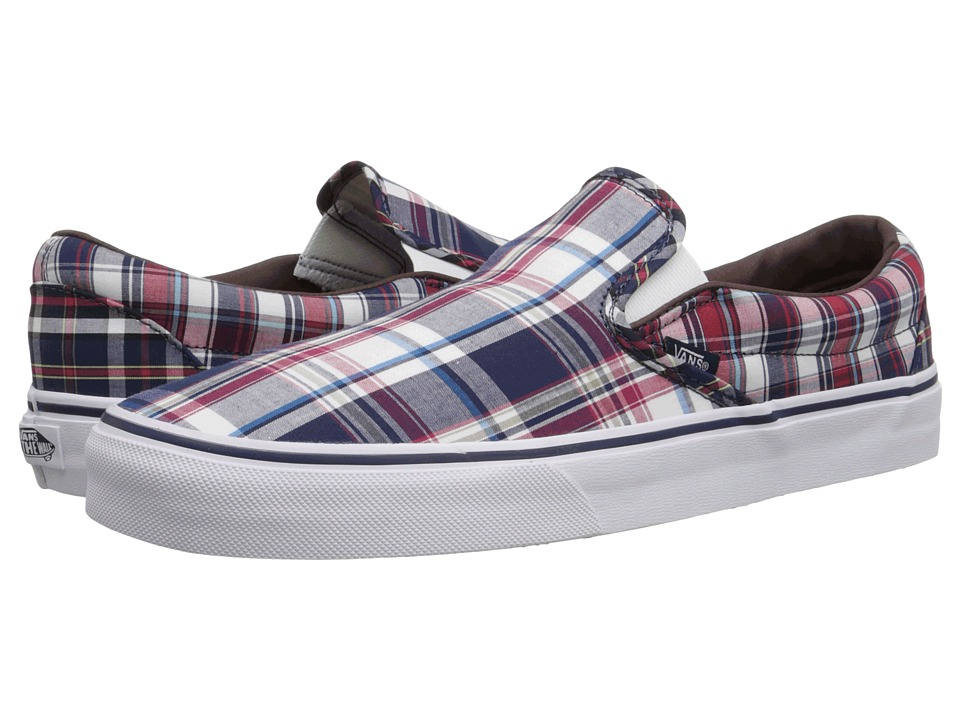 Vans - Classic Slip-On ((Plaid Mix) Dress Blues/White) Skate Shoes
