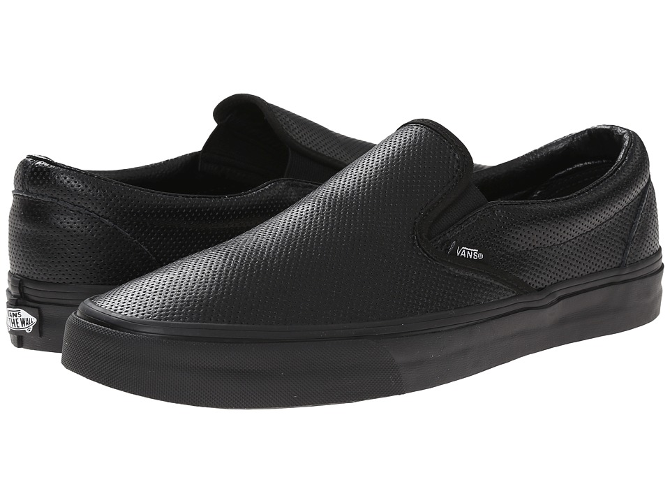Vans - Classic Slip-On ((Perf Leather) Black/Black) Skate Shoes