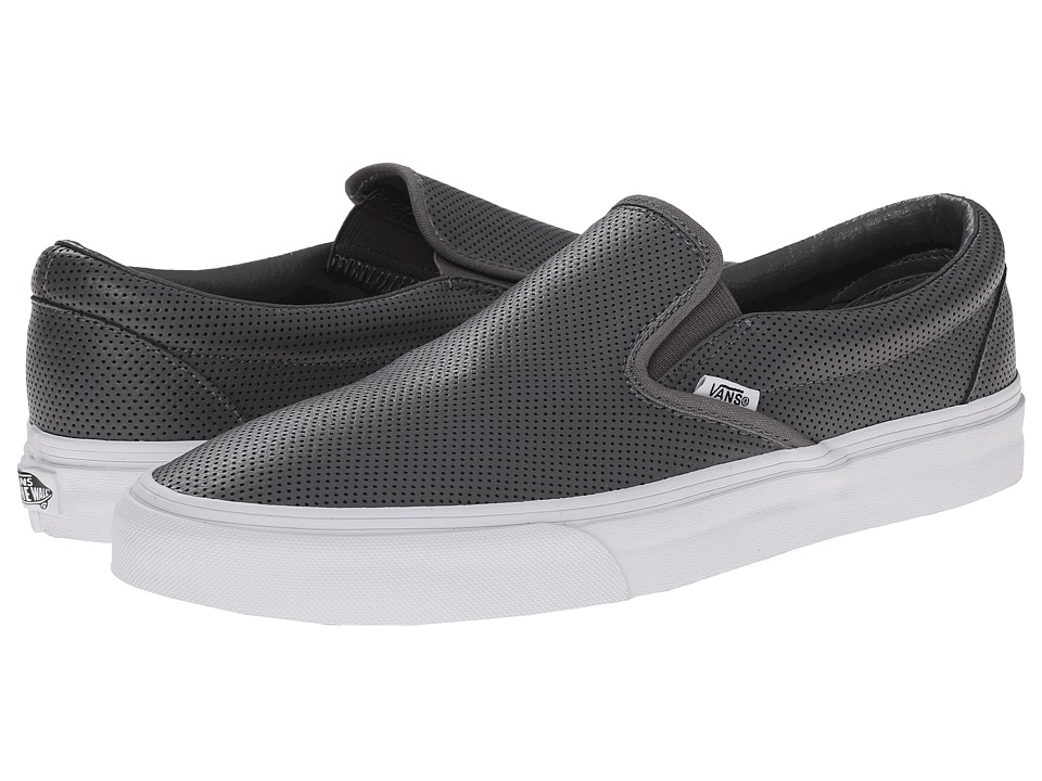 Vans - Classic Slip-On ((Perf Leather) Smoked Pearl) Skate Shoes