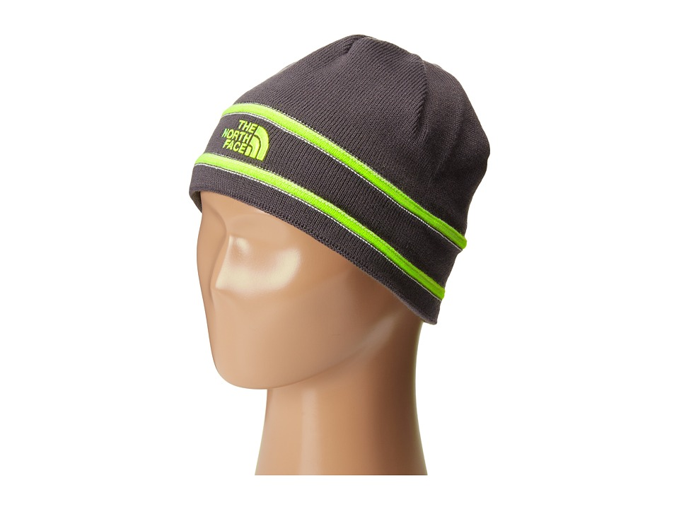 The North Face Kids - TNF Logo Beanie (Big Kids) (Graphite Grey/Safety Green) Beanies