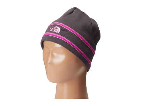 The North Face Kids - TNF Logo Beanie (Big Kids) (Graphite Grey/Gem Pink) Beanies