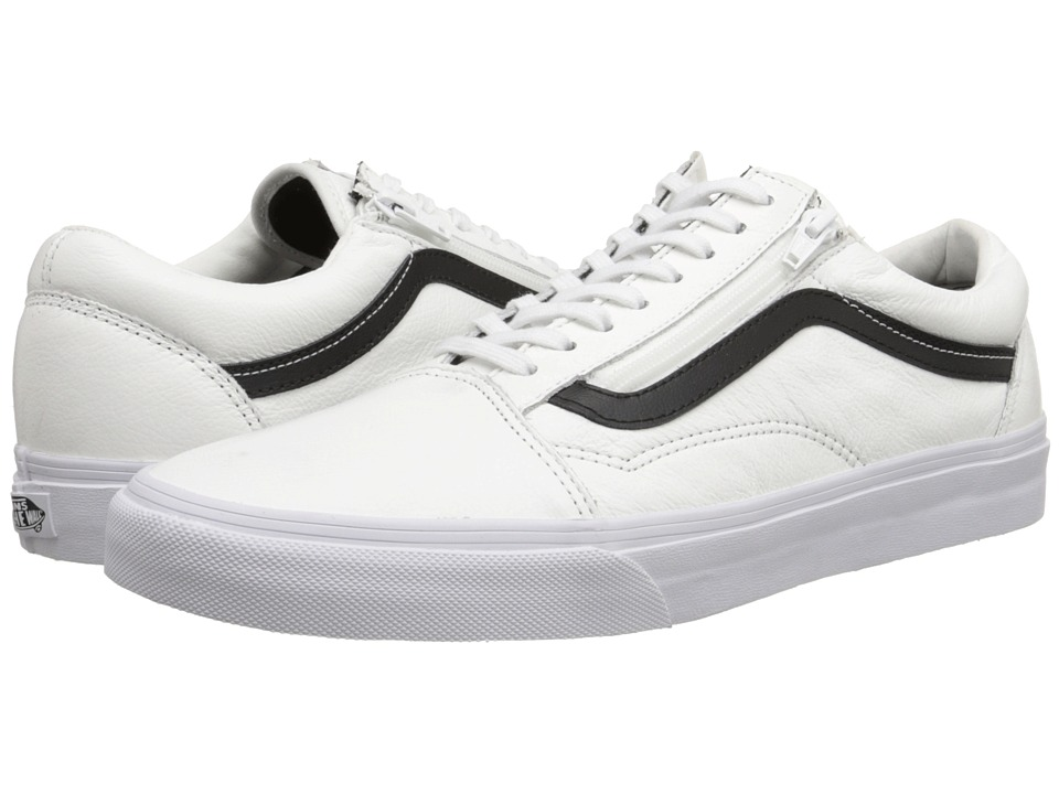 Vans - Old Skool Zip ((Premium Leather) True White) Skate Shoes