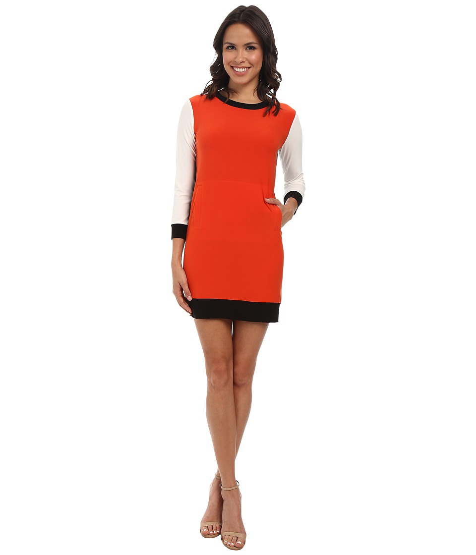 KAMALIKULTURE by Norma Kamali - Spliced Long Sleeve Sporty Dress (Burnt Orange/Off White/Black) Women