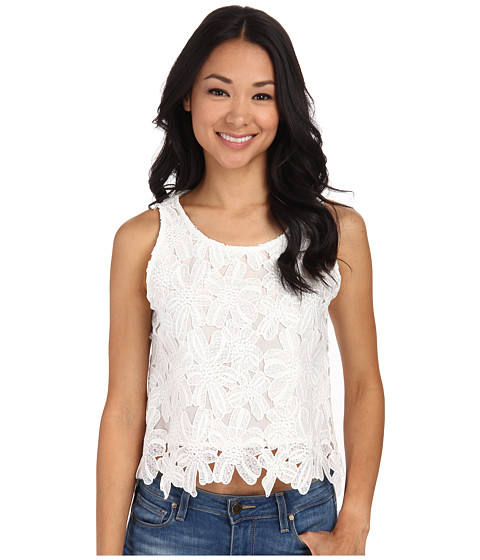 Gabriella Rocha - Floral Embroidered Laser Cut Crop Top (Off-White) Women