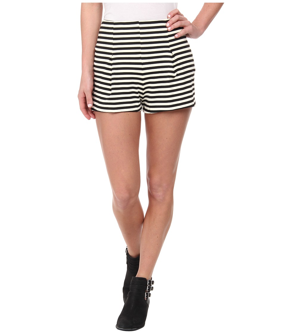 Free People - Stiped Ponte Hi Rise Clean Shorts (Black/Ivory Combo) Women's Shorts
