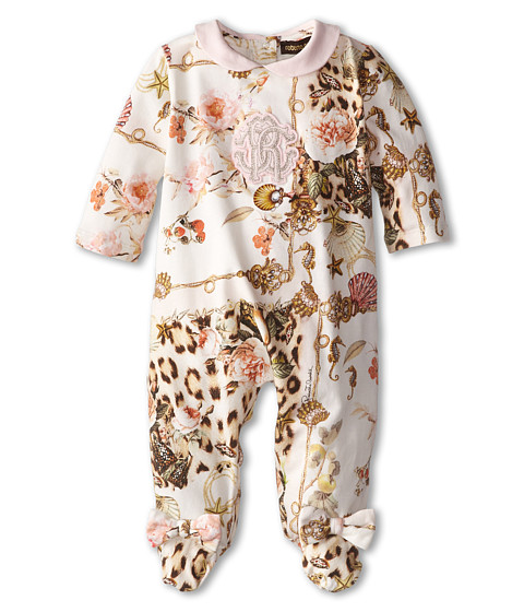 Roberto Cavalli Kids - Long Sleeve Footie w/ Bows and Collar (Infant) (Leprd/Sea) Girl