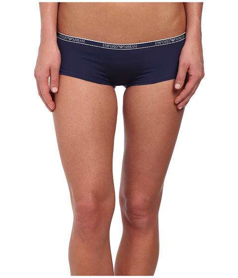 Emporio Armani - Minimal Perfection Light Solid Microfiber Cheeky Pants (Navy Blue) Women