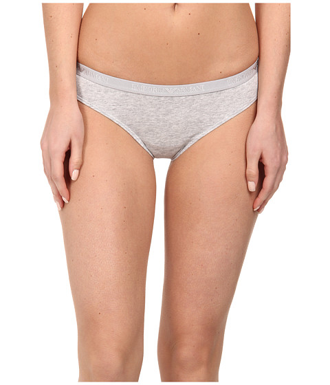 Emporio Armani - Cotton Delight Stretch Cotton with New Logo Brasilian Brief (Light Grey Melange) Women