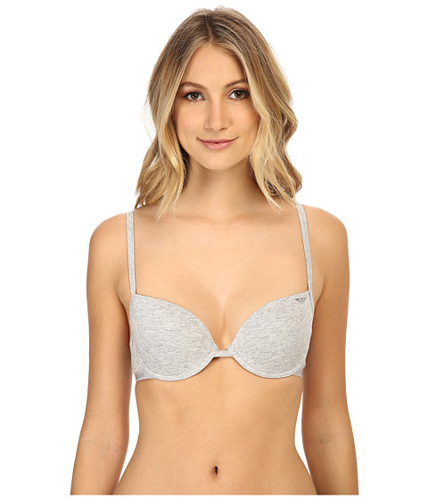 Emporio Armani - Cotton Delight Stretch Cotton With New Logo Custom Fit Push-Up Bra (Light Grey Melange) Women's Bra