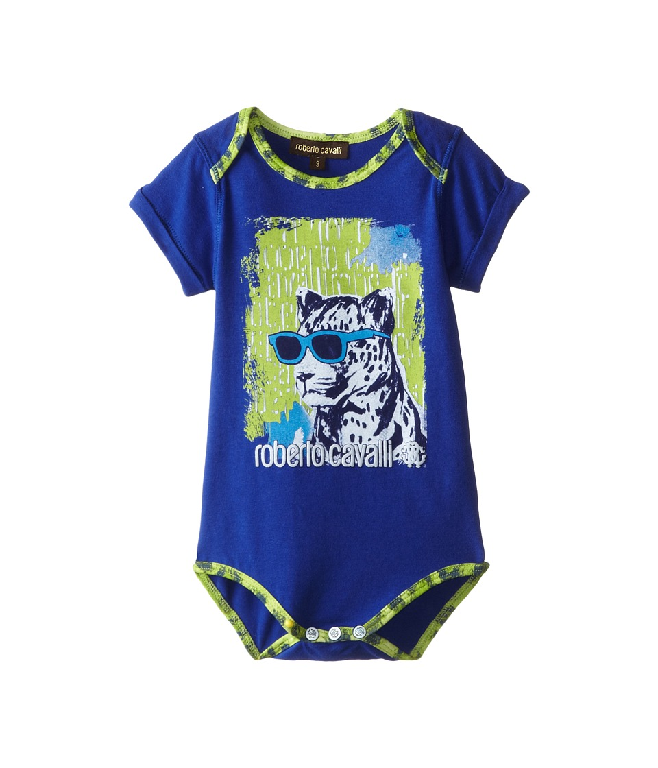 Roberto Cavalli Kids - Graphic One-Piece w/ Green Leopard Trim (Infant) (Blue) Boy's Jumpsuit & Rompers One Piece