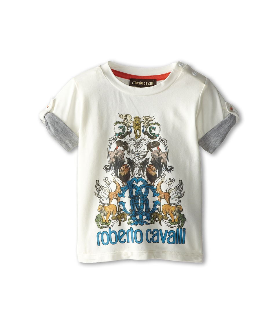 Roberto Cavalli Kids - Short Sleeve Graphic Print Logo Tee (Infant) (White) Boy