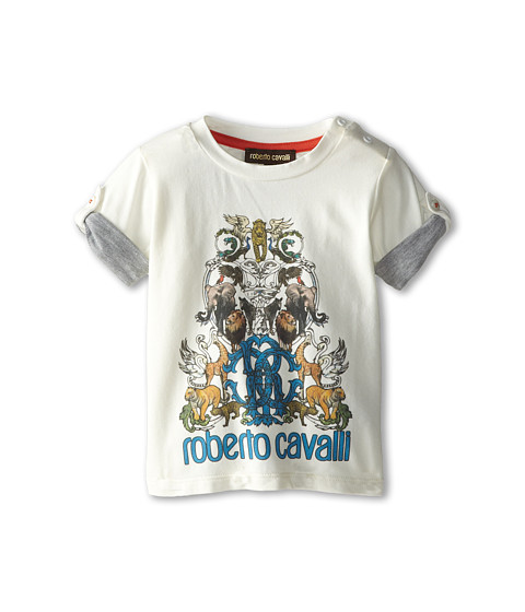 Roberto Cavalli Kids - Short Sleeve Graphic Print Logo Tee (Infant) (White) Boy's T Shirt