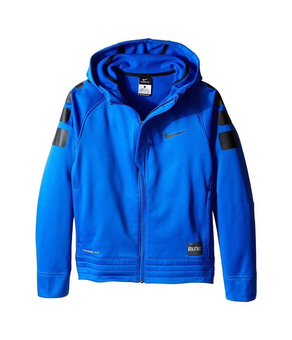 Nike Kids - Elite Stripe Hoodie (Little Kids/Big Kids) (Game Royal/Black/Black/Black) Boy's Sweatshirt