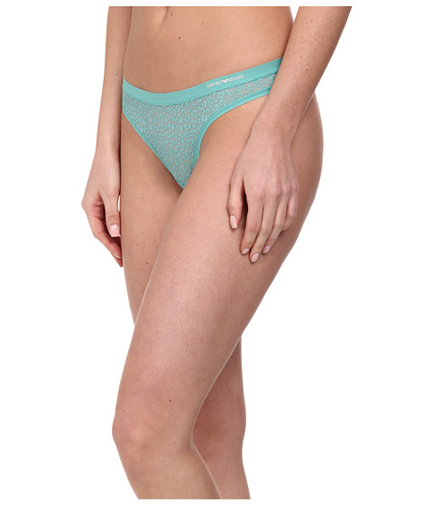 Emporio Armani - Lace All Over Lace Thong (Carribean) Women