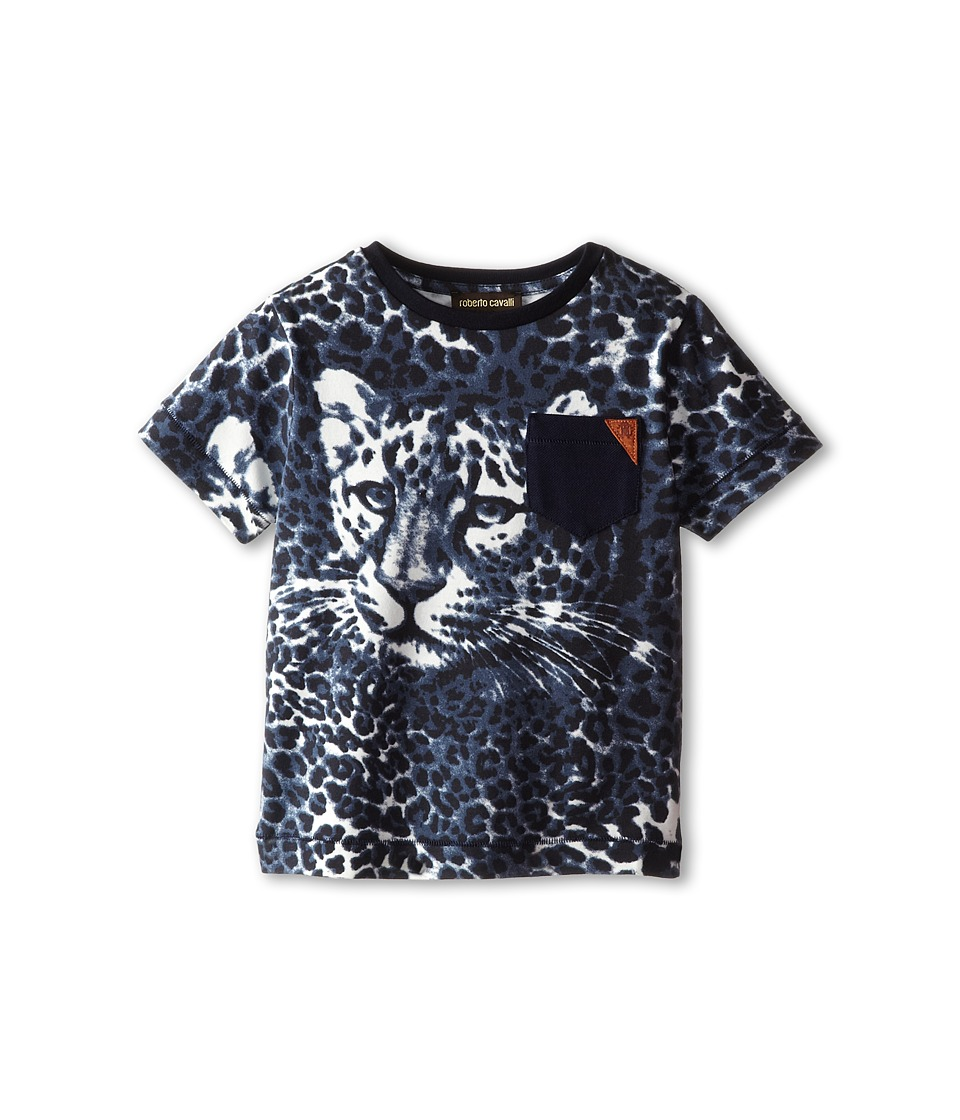 Roberto Cavalli Kids - Short Sleeve Allover Leopard Print T-Shirt w/ Leopard Face (Toddler/Little Kids) (Navy) Boy's T Shirt