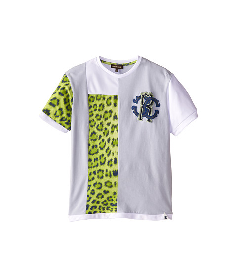 Roberto Cavalli Kids - Short Sleeve Patched T-Shirt w/ Chest Logo (Big Kids) (Light Blue/Green) Boy's Short Sleeve Pullover