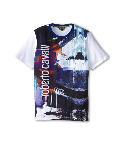 Roberto Cavalli Kids - Short Sleeve Watercolor Tee w/ Vertical Logo (Big Kids) (White/Multi) Boy