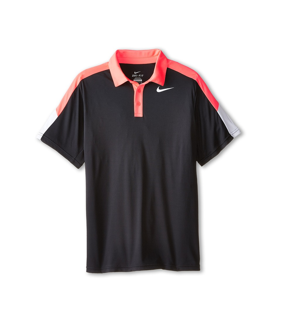 Nike Kids - Dry Short Sleeve Tennis Polo (Little Kids/Big Kids) (Black/Hot Lava/White/White) Boy's Short Sleeve Pullover