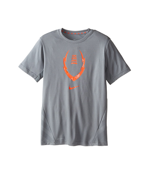 Nike Kids - Vapor Football S/S Top (Little Kids/Big Kids) (Cool Grey/Team Orange) Boy