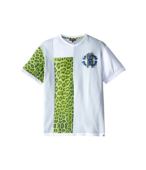 Roberto Cavalli Kids - Short Sleeve Patched T-Shirt w/ Chest Logo (Big Kids) (Light Blue/Green) Boy