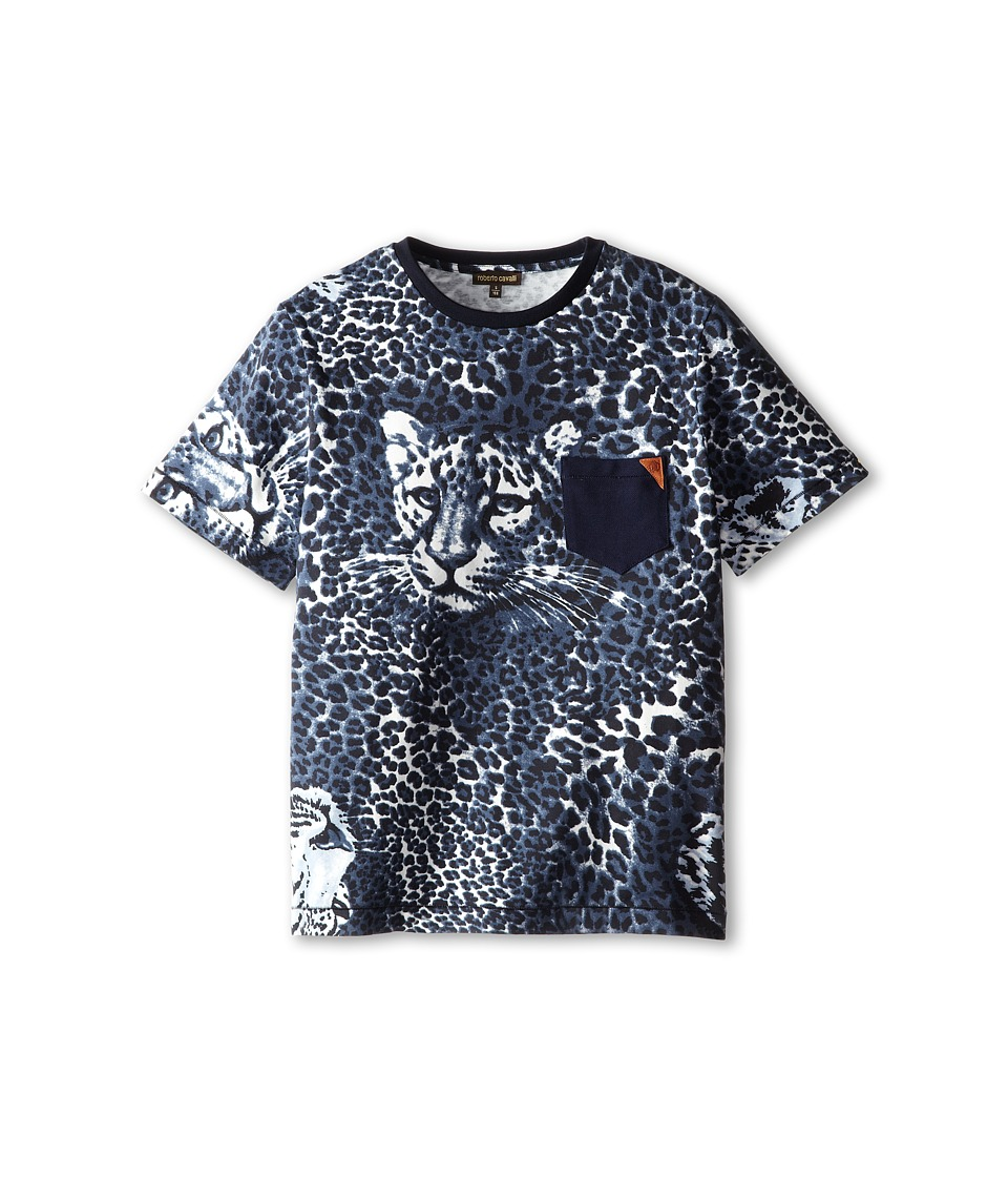 Roberto Cavalli Kids - Short Sleeve Allover Leopard Print T-Shirt w/ Leopard Face (Big Kids) (Navy) Boy's T Shirt