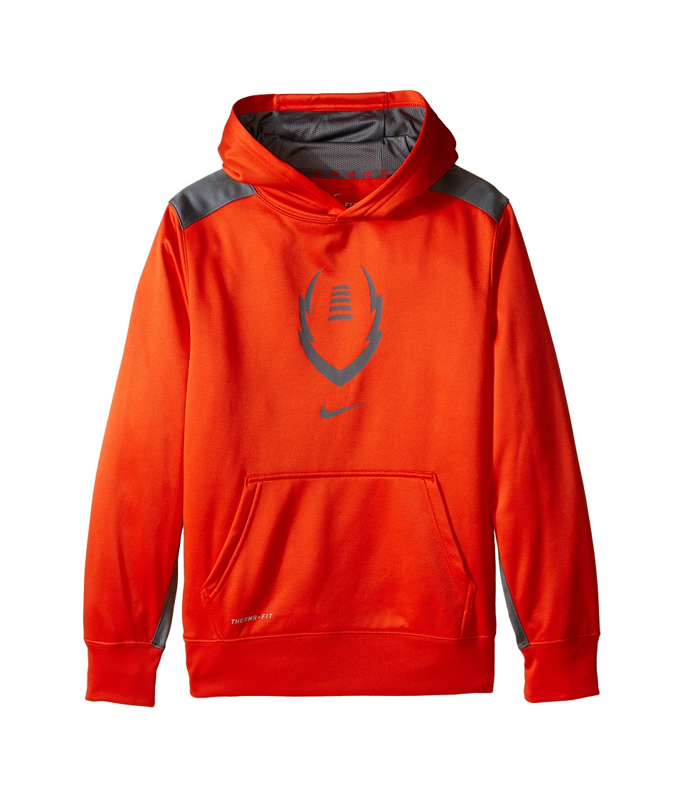 Nike Kids - Ko 3.0 Ignite Football Hoodie (Little Kids/Big Kids) (Team Orange/Cool Grey/Cool Grey) Boy's Sweatshirt