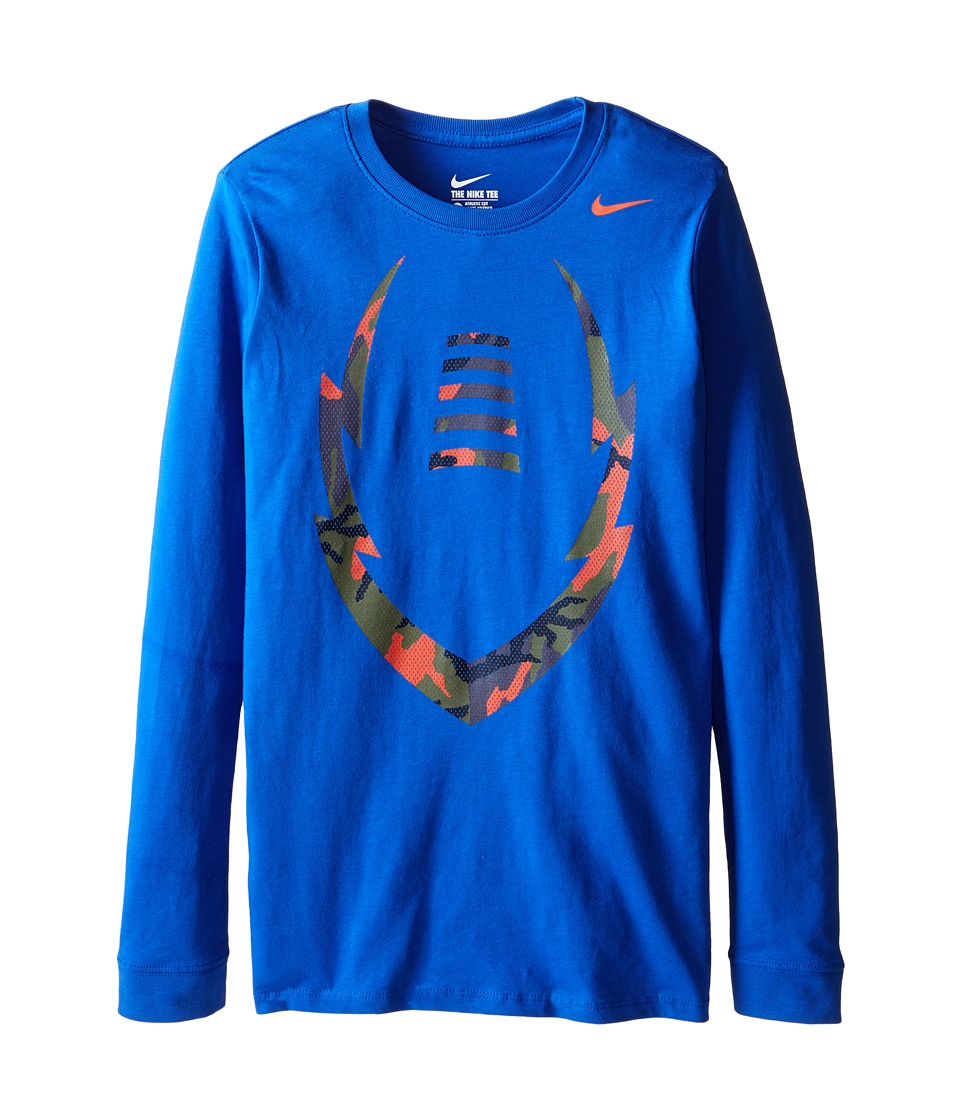 Nike Kids - NA Ignite Camo Long Sleeve TD Tee (Little Kids/Big Kids) (Game Royal/Team Orange) Boy's T Shirt