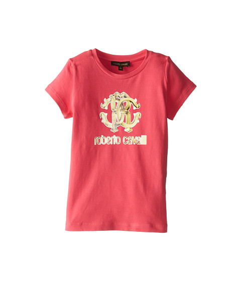 Roberto Cavalli Kids - Short Sleeve Logo Tee (Toddler/Little Kids) (Fuchsia) Girl's Short Sleeve Pullover
