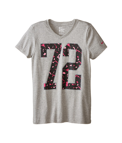 Nike Kids - Cotton V Number 72 Tee (Little Kids/Big Kids) (Dark Grey Heather/Dark Grey Heather) Girl's T Shirt