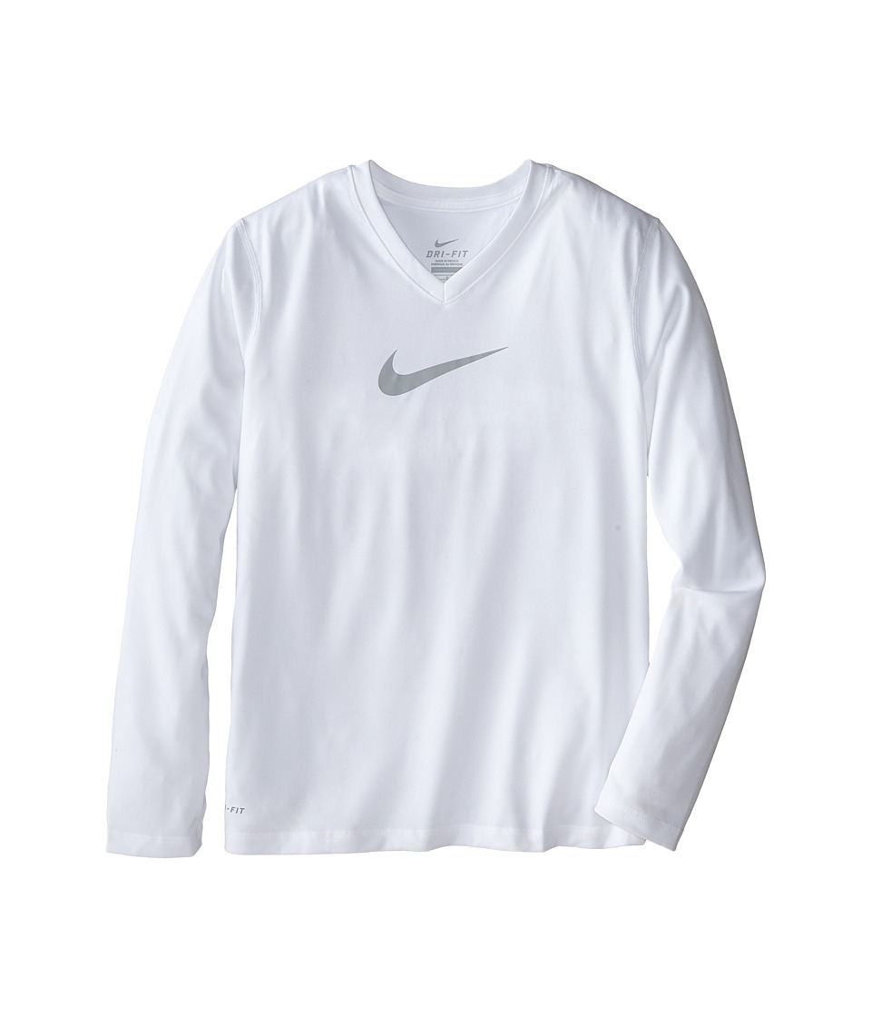 Nike Kids - Leg V-Neck Swoosh L/S Tee (Little Kids/Big Kids) (White/White/Wolf Grey) Girl's Long Sleeve Pullover