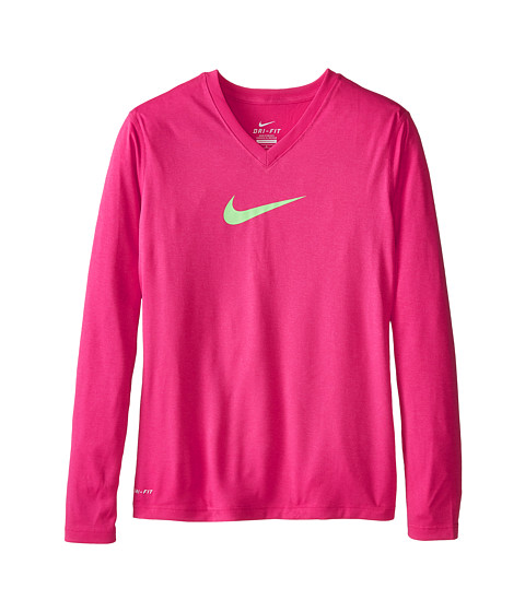 Nike Kids - Leg V-Neck Swoosh L/S Tee (Little Kids/Big Kids) (Vivid Pink/Vivid Pink/Ghost Green) Girl