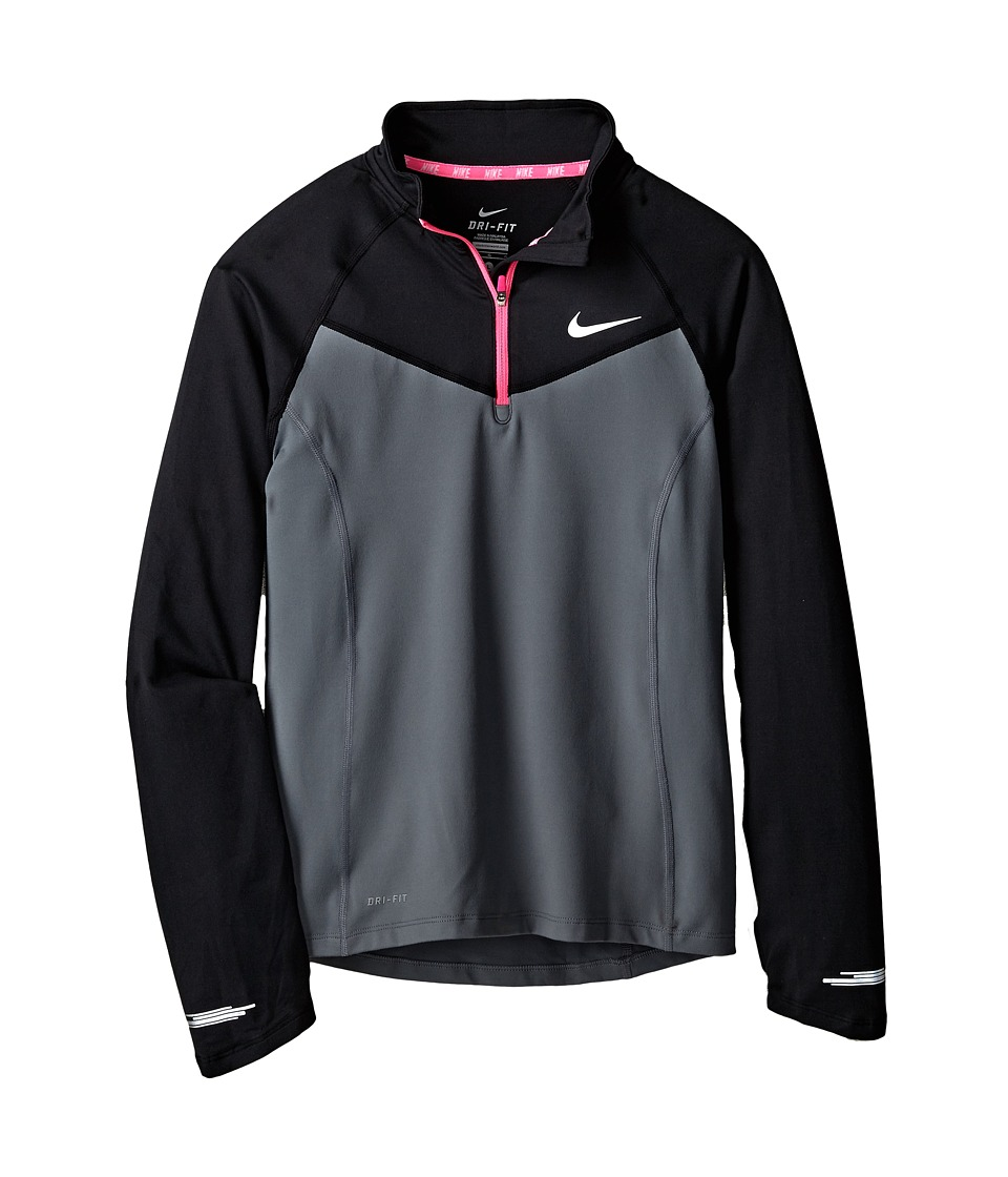 Nike Kids - Element 1/2 Zip L/S Top (Little Kids/Big Kids) (Cool Grey/Black/Pink Pow/Reflective Silver) Girl's Long Sleeve Pullover