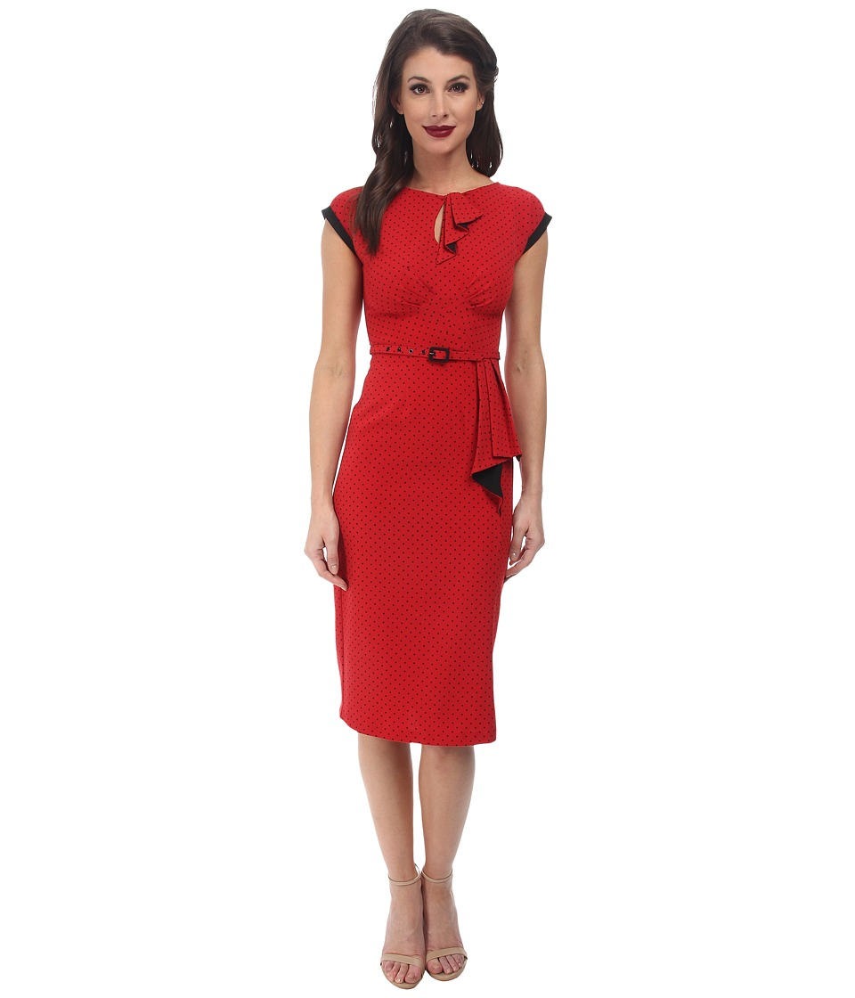 Stop Staring! - Keyhole Front Classic Dress (Red/Black Dots) Women's Dress