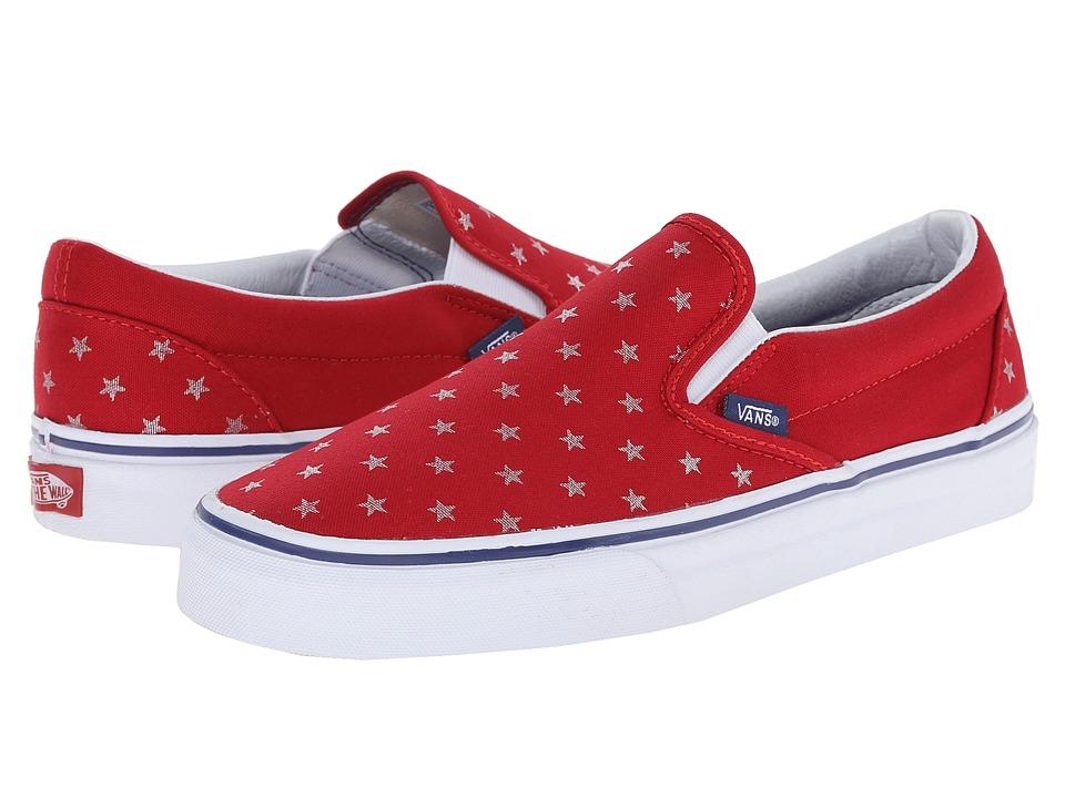 Vans - Classic Slip-On ((Studded Stars) Red/Blue) Skate Shoes