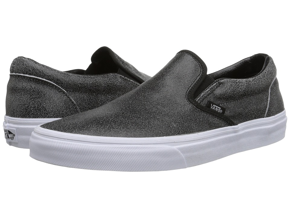 Vans - Classic Slip-On ((Cracked Leather) Black) Skate Shoes