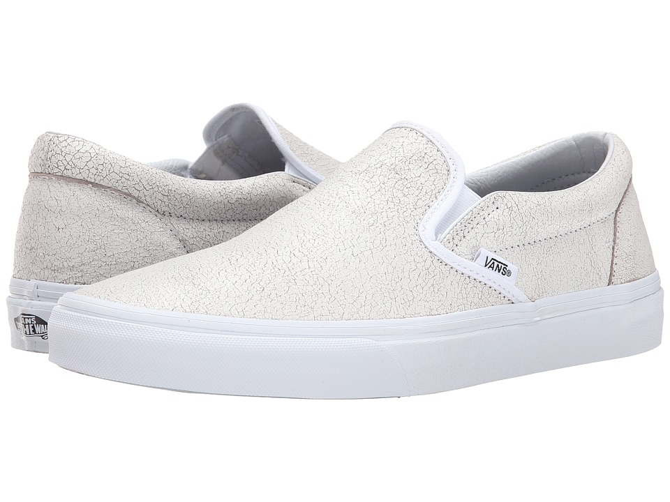 Vans - Classic Slip-On ((Cracked Leather) True White) Skate Shoes