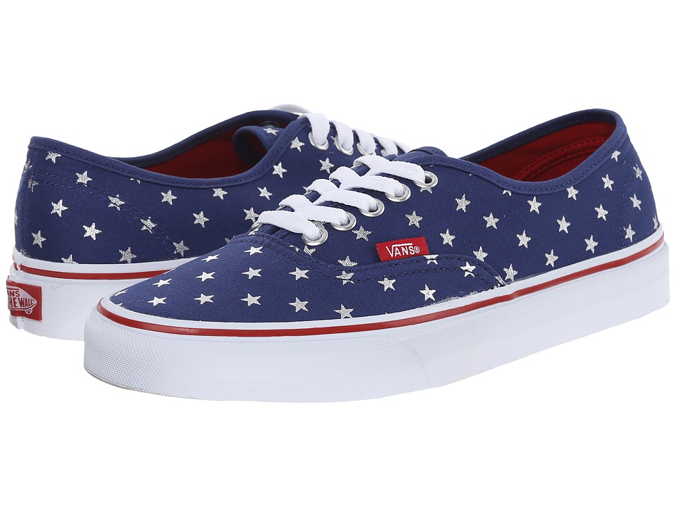 Vans - Authentic ((Studded Stars) Red/Blue) Skate Shoes