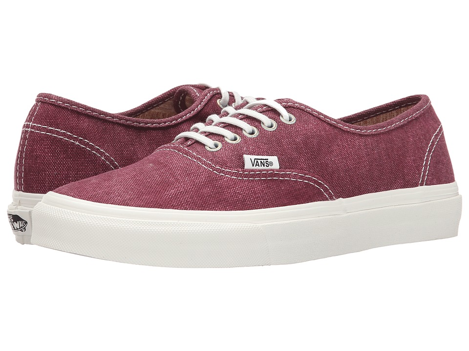Vans - Authentic Slim ((Stripes) Washed/Tawny Port) Skate Shoes