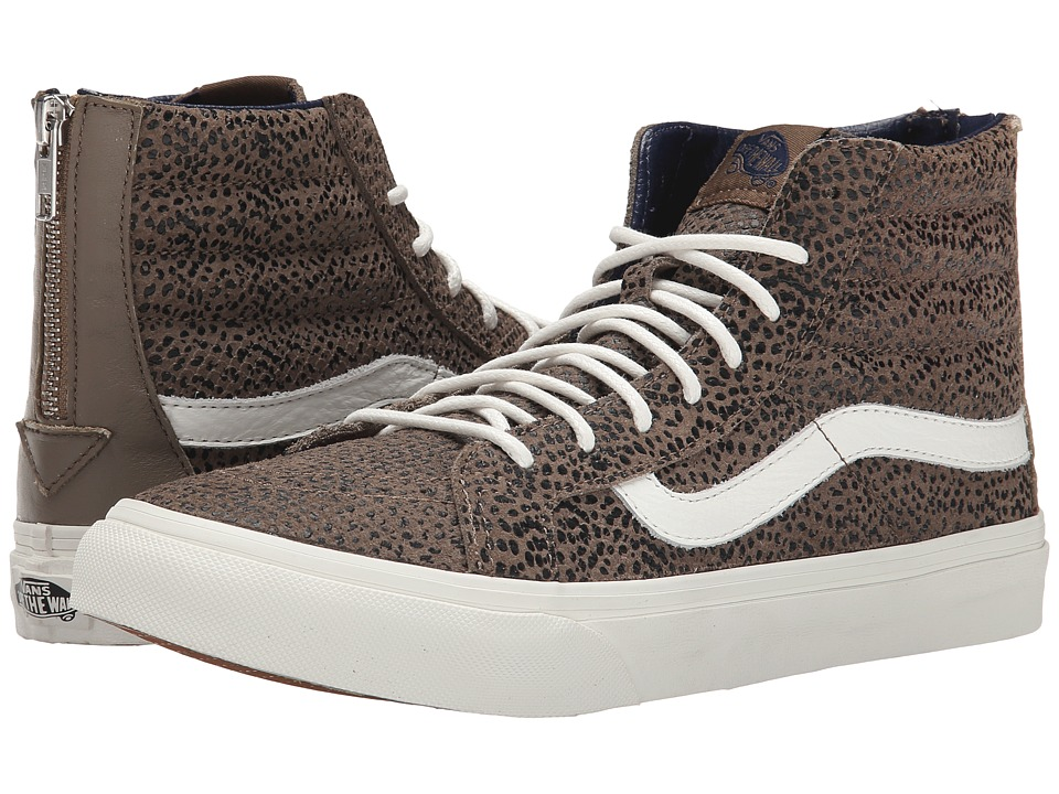 SK8-Hi Slim Zip ((Cheetah Suede) Black/Tan) Skate Shoes