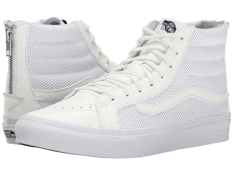 Vans - SK8-Hi Slim Zip ((Perf Leather) True White) Skate Shoes