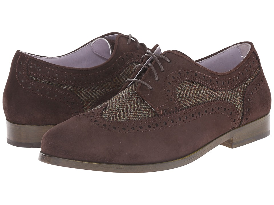 Johnston & Murphy - Dinah Wingtip (Expresso Suede/Brown Herringbone) Women's Lace Up Wing Tip Shoes