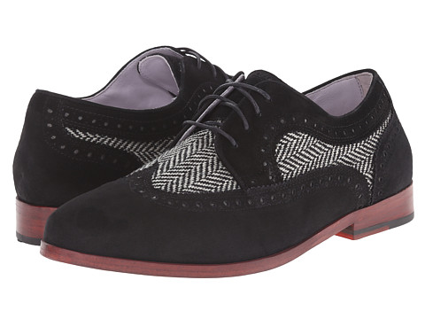 Johnston & Murphy - Dinah Wingtip (Black Suede/Black & White Herringbone) Women's Lace Up Wing Tip Shoes