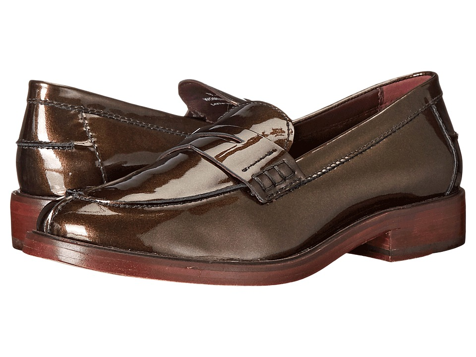 Johnston & Murphy - Regina Penny Moc (Bronze Pearlized Patent) Women's Slip on Shoes