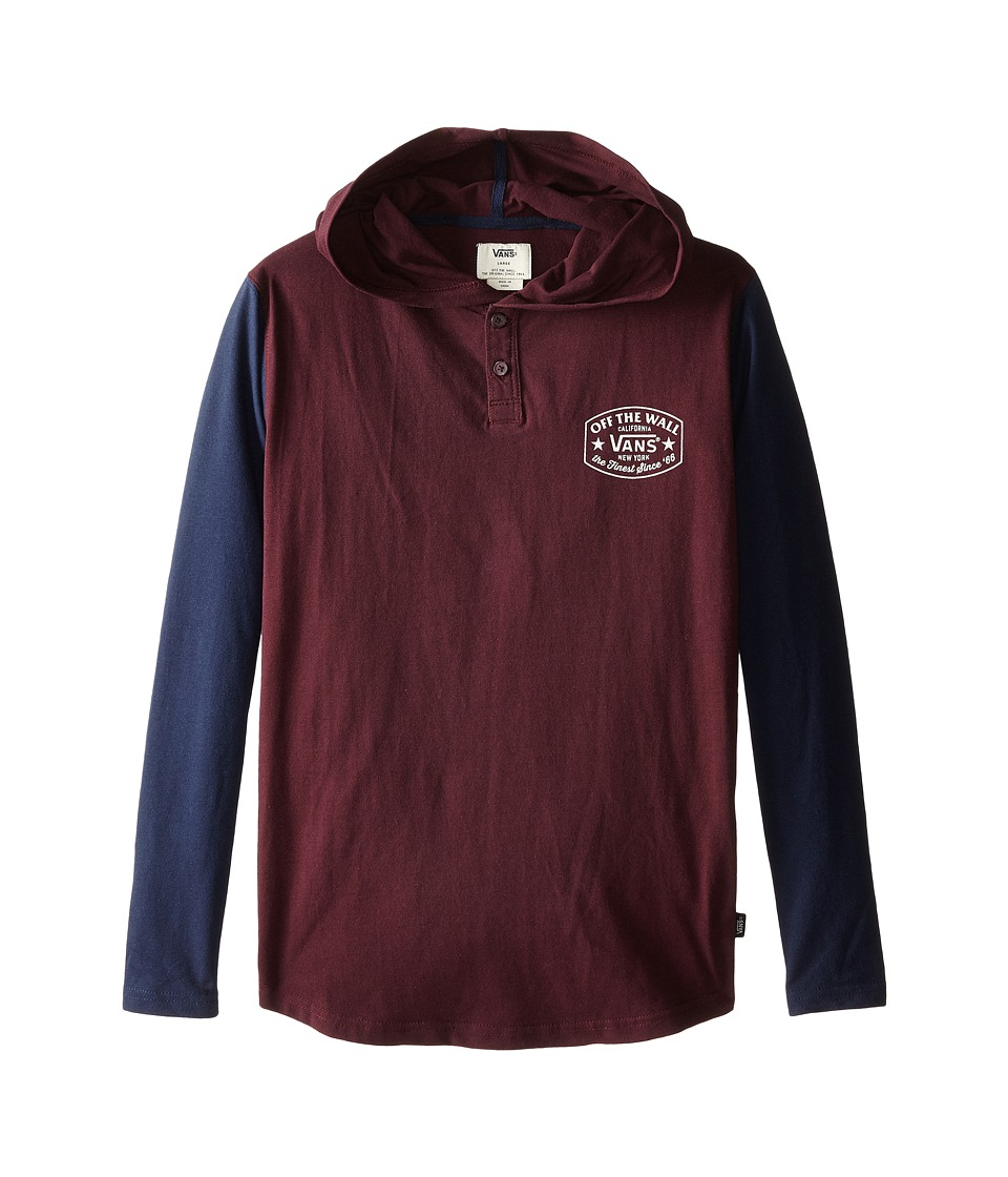 Vans Kids - Robles Long Sleeve Pullover with Hood (Big Kids) (Port) Boy's Long Sleeve Pullover