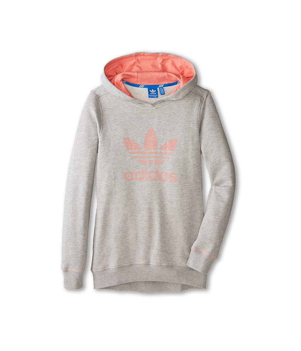 adidas Originals Kids - Sport Luxe Hoodie (Little Kids/Big Kids) (Medium Grey Heather/Peach Pink) Girl's Sweatshirt