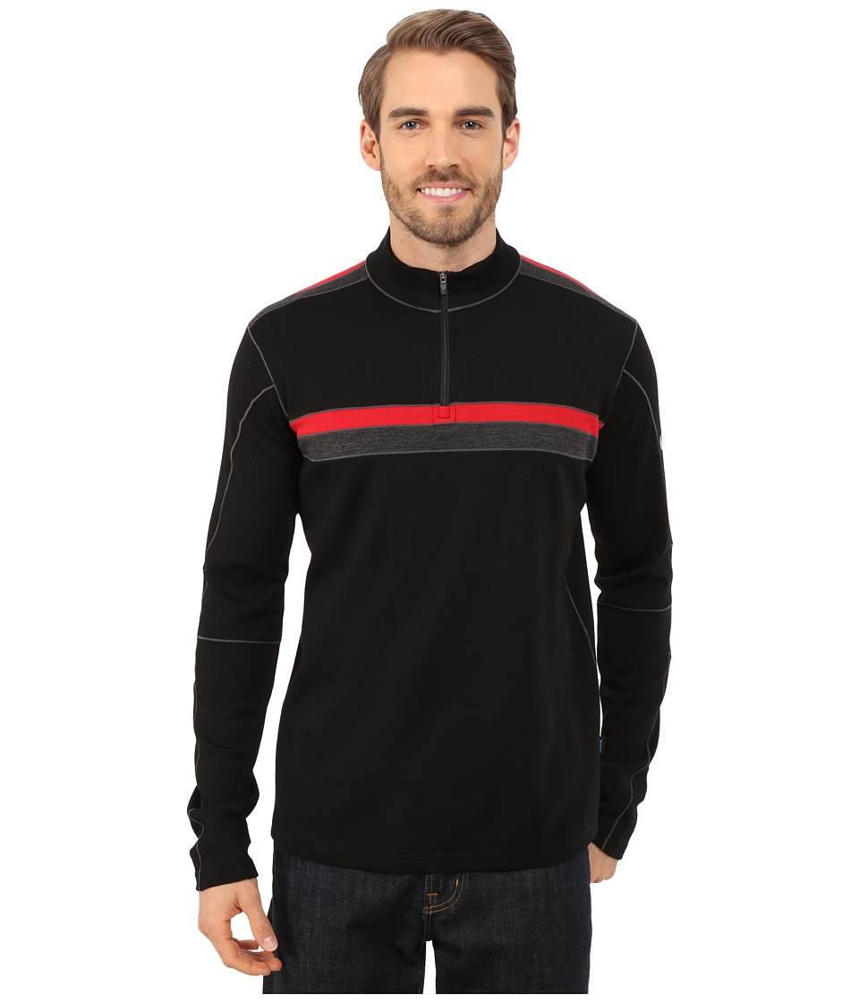 KUHL - Downhill Racr 1/4 Zip (Black/Race Red) Men's Long Sleeve Pullover