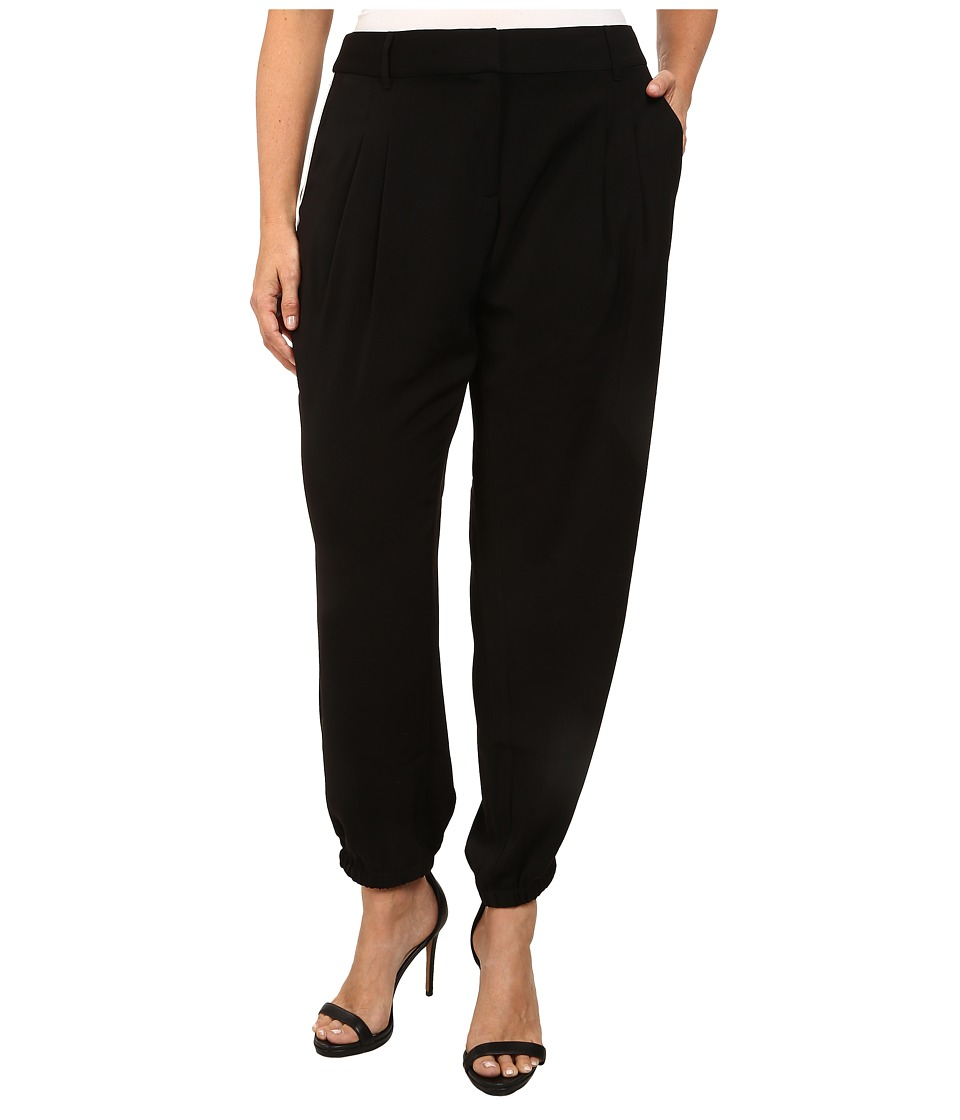 DKNYC - Plus Size Tech Crepe Elasticated Hem Ankle Track Pants (Black) Women's Casual Pants
